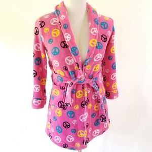 Faded Glory Robe Peace Sign Pink Size Small Kids
